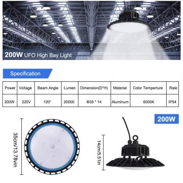 UFO LED Industrial Ceiling Pendant Lamp, 200W Commercial LED Light, 6000K 20000LM, High Bay Lights for Warehouse Workshop Garage Shop Lighting by Natur [Energy Class A++]