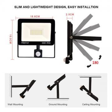 bapro 50W LED Security Lights with Motion Sensor, Slim Flood Light, IP65 Waterproof Flood Light Daylight White(6000K) Outdoor Lights 2019 New Series Perfect for Garden Garage [Energy Class A++]