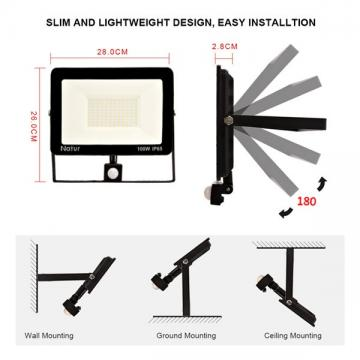 bapro 100W LED Security Lights with Motion Sensor, Slim Flood Light, IP65 Waterproof Flood Light Warm White(6000K) Outdoor Lights 2019 New Series Perfect for Garden Garage [Energy Class A++]