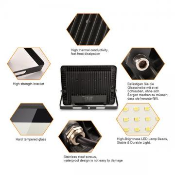 bapro 400W LED Outdoor Floodlight,Led Floodlight Super Bright, Garden Lights Warm White(3000K), IP66 Waterproof Outdoor Flood Light Wall Light Perfect for Garage, Garden, Forecourt[Energy Class A+]