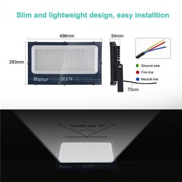 NATUR 300W LED Flood Light, Ultra Slim and Lightweight Design, 30000LM Outdoor Security Spotlights, 1500W Halogen Equivalent, IP66 Waterproof, 6000K Daylight White [Energy Class A++]