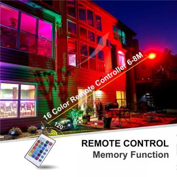 bapro 100W LED RGB Floodlights with Remote Control, IP67 Waterproof Dimmable Decorative Coloured Flood Light 16 Colours 4 Modes,Coloured Floodlight with Remote Control。[Energy Class A++]