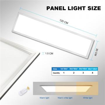 48W LED Panel Light Dimmable 120 * 30CM, 150W LED Bulb Equivalent, Ultra Slim & Lightweight LED Ceiling Drop, 5800LM Modified Colour Temperature, Flat Panel Lighting for Residential Office Shop Light [Energy Class A++]