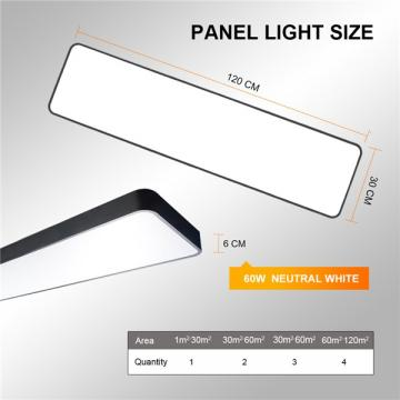 LED Ceiling Panel Light 120x30CM 60W, Black Body Suspended & Surface Mount Ceiling Panel Drop, Low Profile Design 4000K Neutral White 6000LM, Flat Panel Lighting for Residential Office Shop Light