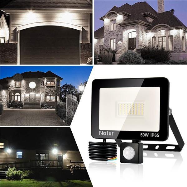 bapro 20W LED Security Lights with Motion Sensor, Slim Flood Light, IP65 Waterproof Flood Light Warm White(6000K) Outdoor Lights 2019 New Series Perfect for Garden Garage [Energy Class A++]