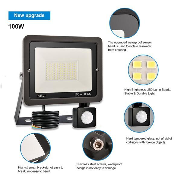 bapro 100W Security Lights with Motion Sensor,Led Floodlight Super Bright, Garden Lights Warm White(3000K), IP65 Waterproof Perfect for Garage, Garden and Forecourt[Energy Class A++]
