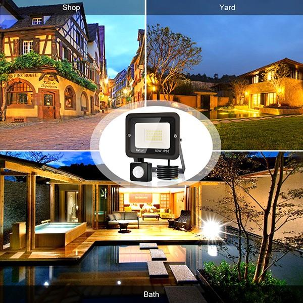 bapro 50W Security Lights with Motion Sensor,Led Floodlight Super Bright, Garden Lights Cold White(6000K), IP65 Waterproof Perfect for Garage, Garden and Forecourt[Energy Class A++]