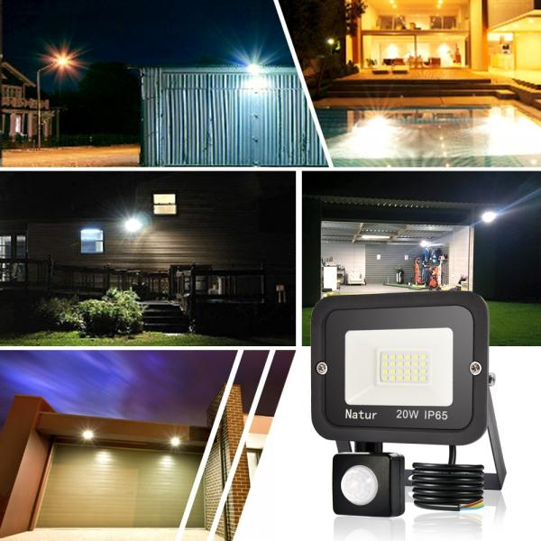 bapro 20W Security Lights with Motion Sensor,Led Floodlight Super Bright, Garden Lights Cold White(6000K), IP65 Waterproof Perfect for Garage, Garden and Forecourt[Energy Class A++]