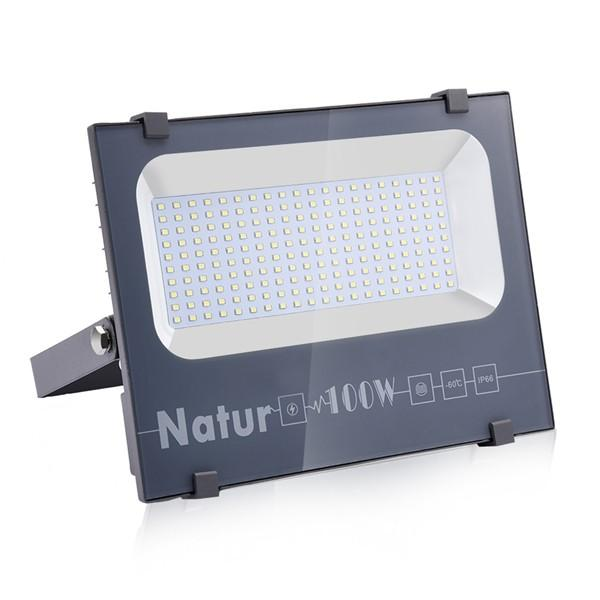 NATUR 100W LED Flood Light, Ultra Slim and Lightweight Design, 10000LM Outdoor Security Spotlights, 500W Halogen Equivalent, IP66 Waterproof, 6000K Daylight White [Energy Class A++]
