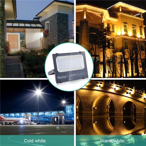 NATUR 100W LED Floodlight, 10000LM Outdoor Security Spotlights, Ultra Slim and Lightweight Design, 500W Halogen Equivalent, IP66 Waterproof, 3000K Warm White [Energy Class A++]