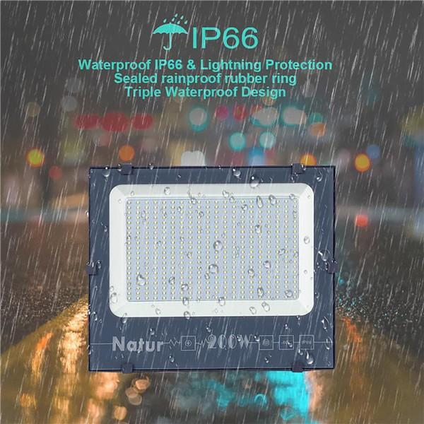 NATUR 200W LED Flood Light, Ultra Slim and Lightweight Design, 20000LM Outdoor Security Spotlights, 1000W Halogen Equivalent, IP66 Waterproof, 6000K Daylight White [Energy Class A++]