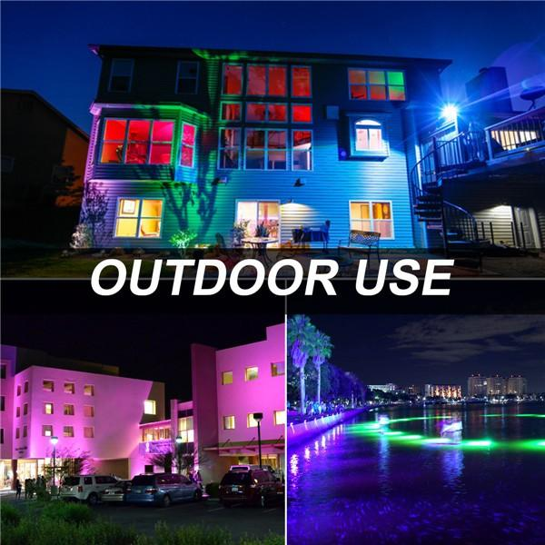 bapro 50W LED RGB Floodlights with Remote Control, IP67 Waterproof Dimmable Decorative Coloured Flood Light 16 Colours 4 Modes,Coloured Floodlight with Remote Control。[Energy Class A++]
