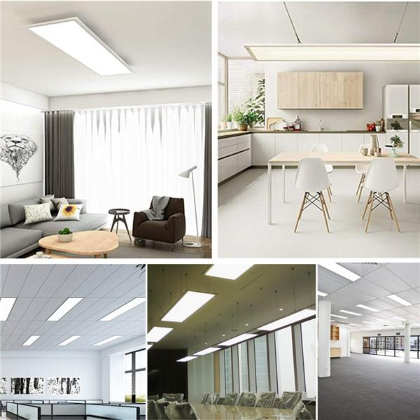 48W LED Panel Light 120 * 30CM, 150W LED Bulb Equivalent, Ultra Thin & Lightweight LED Ceiling Drop, 5800LM 4000K Neutral White, LED Flat Panel Light for Office Shop Garage Workshop Lighting